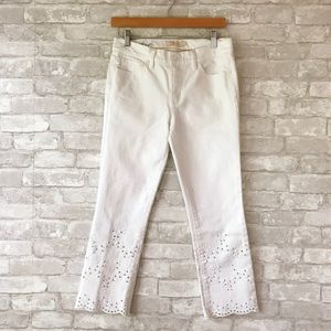 Tory Burch cropped eyelet trim jeans